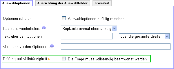 Antwortzwang als Option