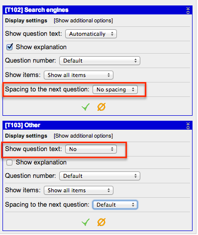 Display settings for concatenating questions