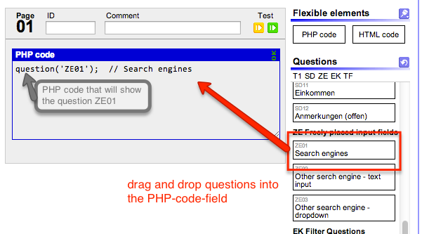 converting questionnaire elements to php