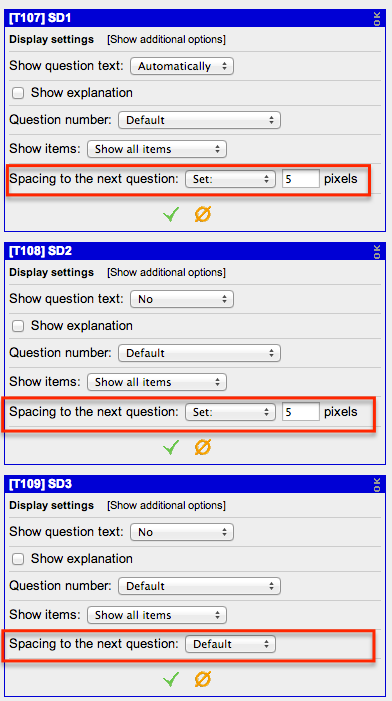 Display settings for several concatenating questions